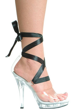 Clear Platform Shoe with Tie Ribbons