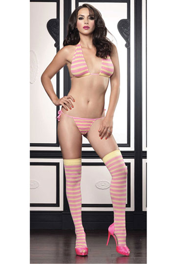 Opaque Striped Halter & Thong Set