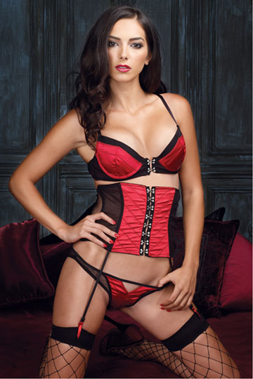 Quilted Satin Underwire Bra & Cincher