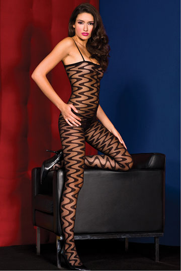 Sheer Wavy Bodystocking