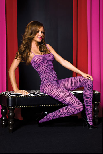 Zebra Print Open Crotch Bodystocking