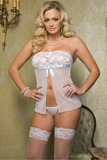 Lace & Mesh Strapless Babydoll
