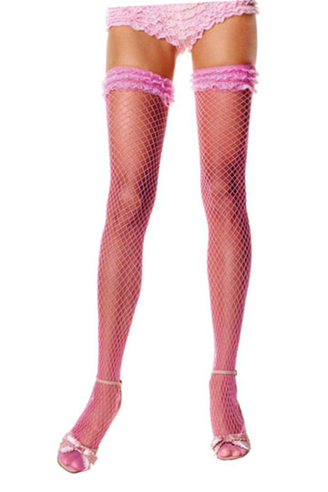 Pink Thigh High Fishnets