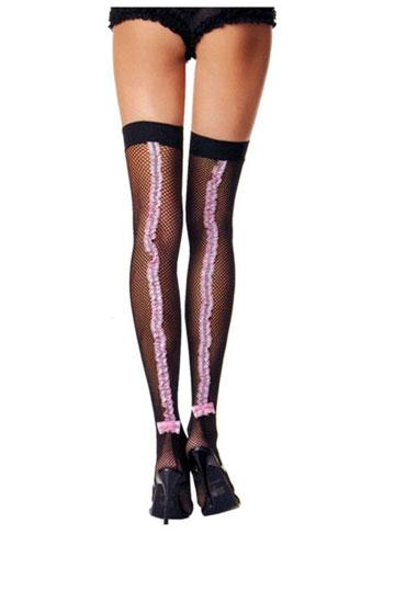 Pink Ruffle Thigh High Fishnets