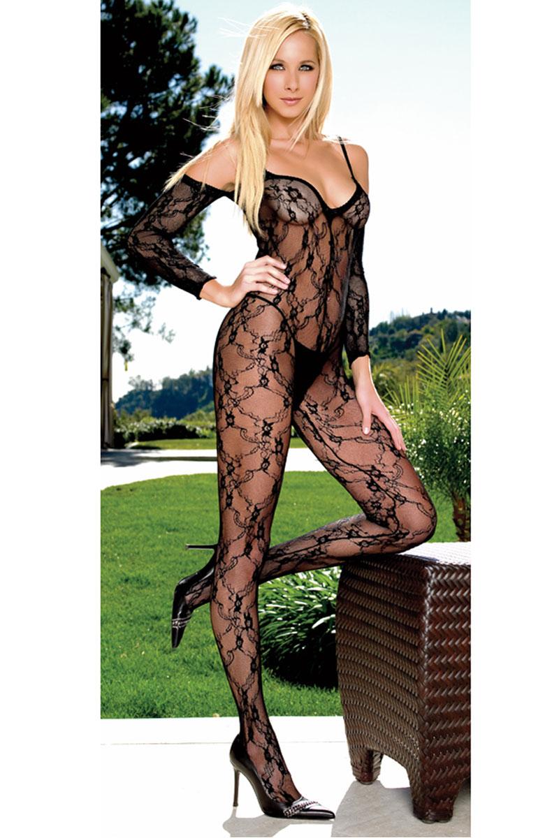 Plus Size Stretch Lace Bodystocking