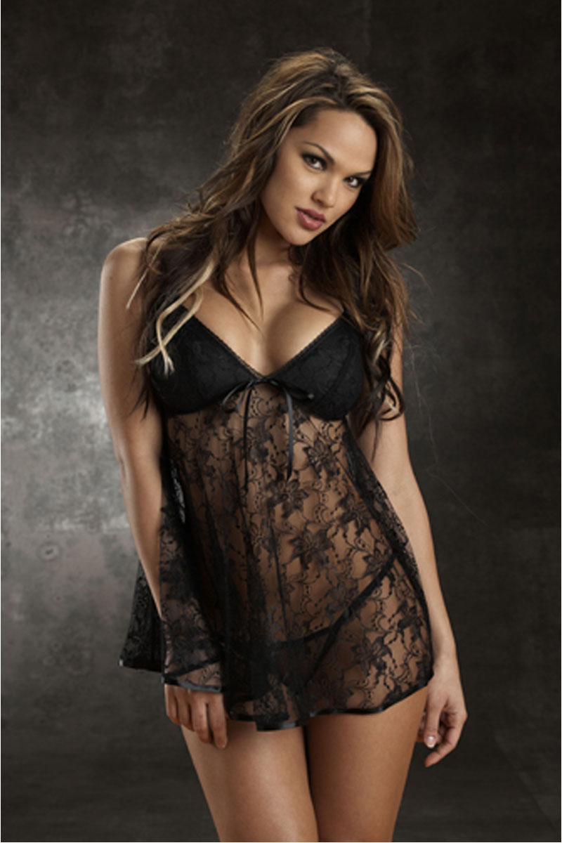 Bow Tie Sheer Lace Babydoll