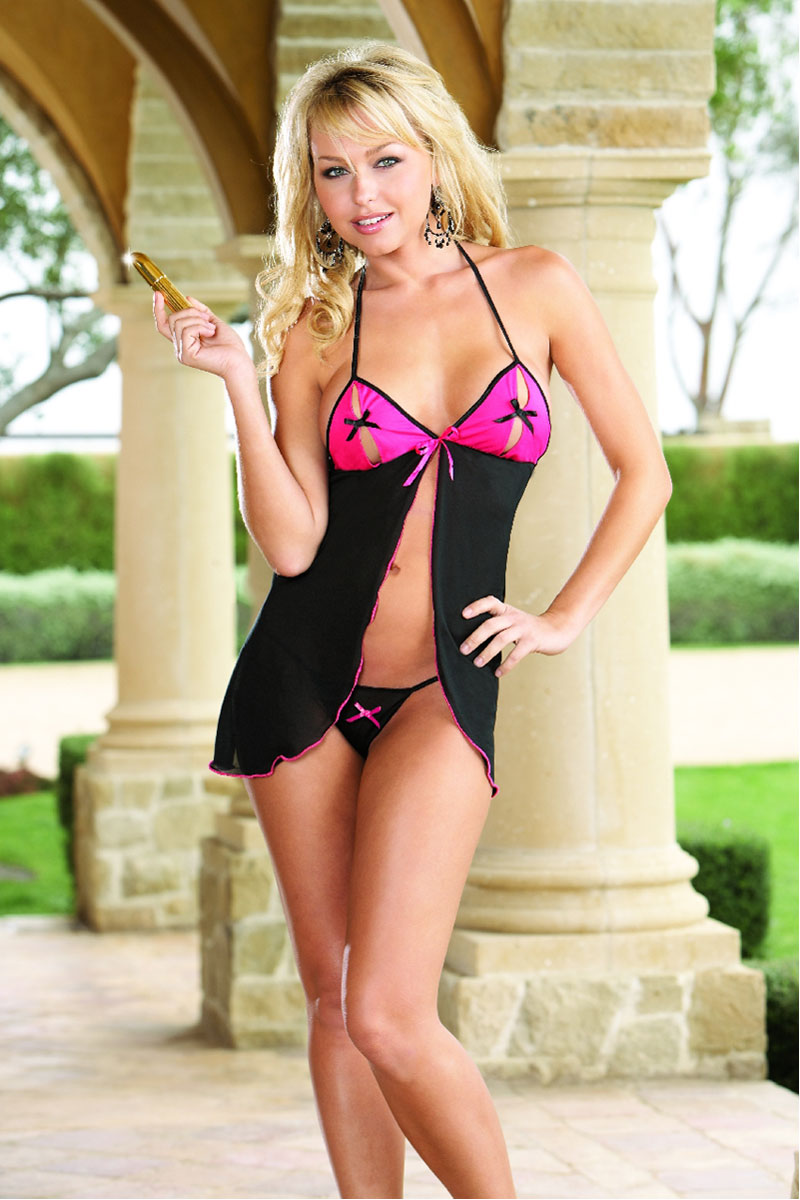 Stretch Mesh Open Cup Halter Babydoll