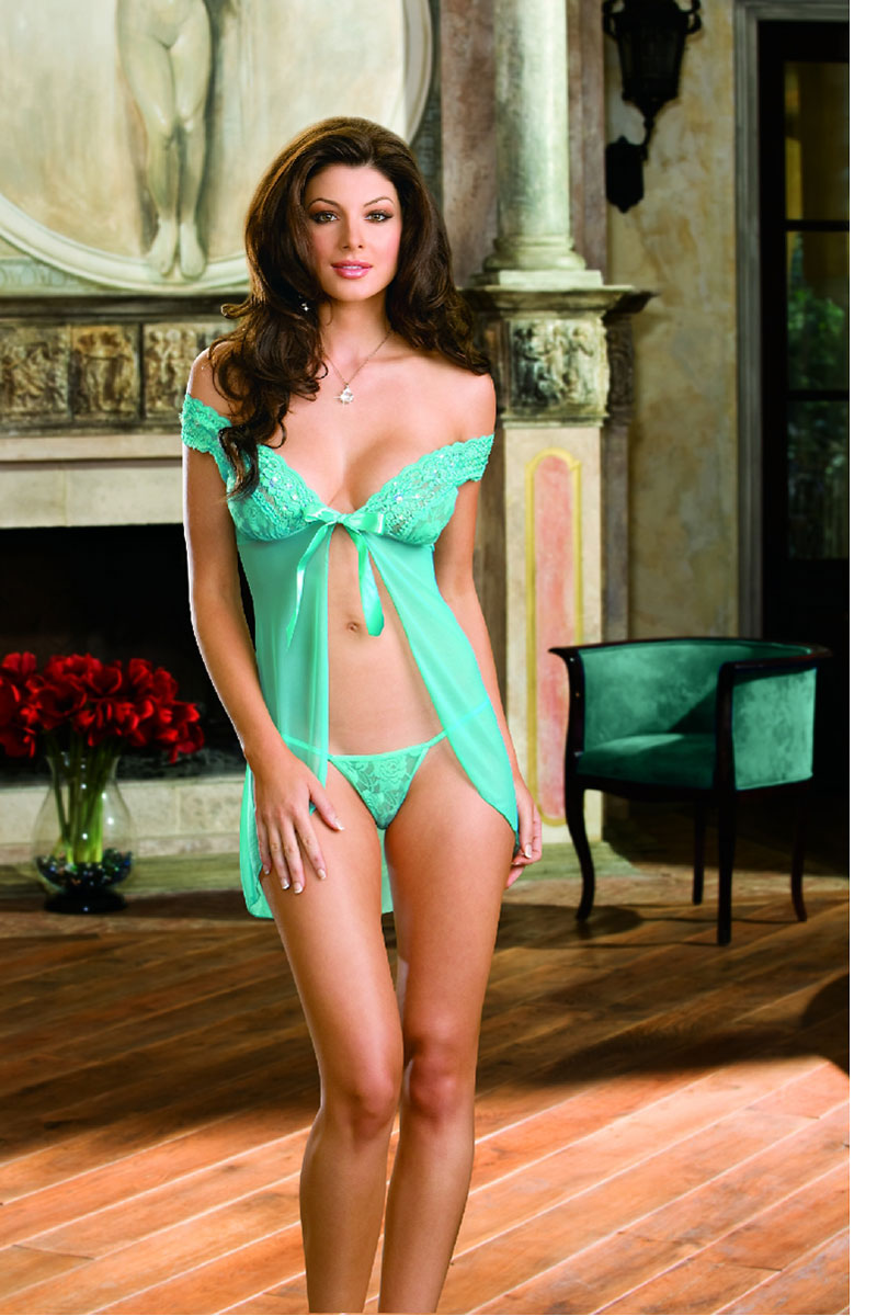Open Front Satin Babydoll