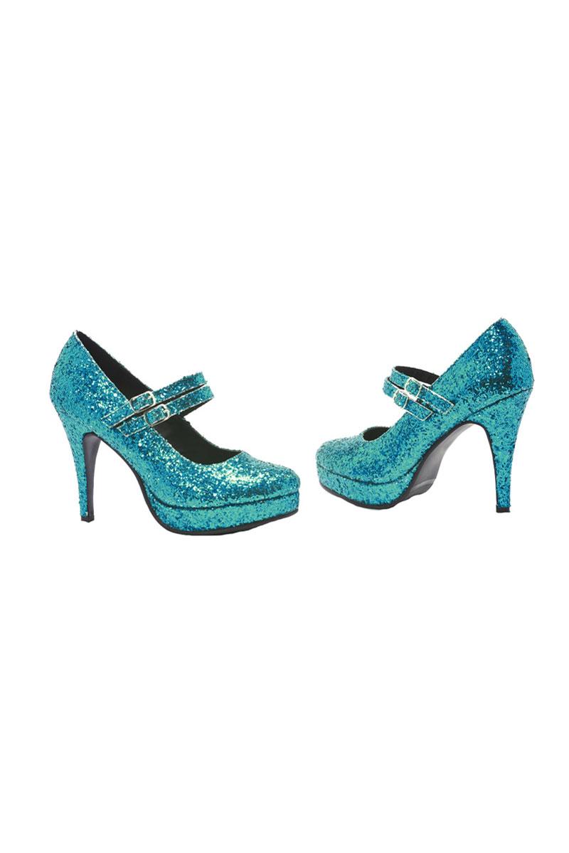 Blue Glitter Alice Shoes