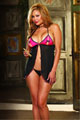 Plus Size Stretch Mesh Open Cup Halter Babydoll